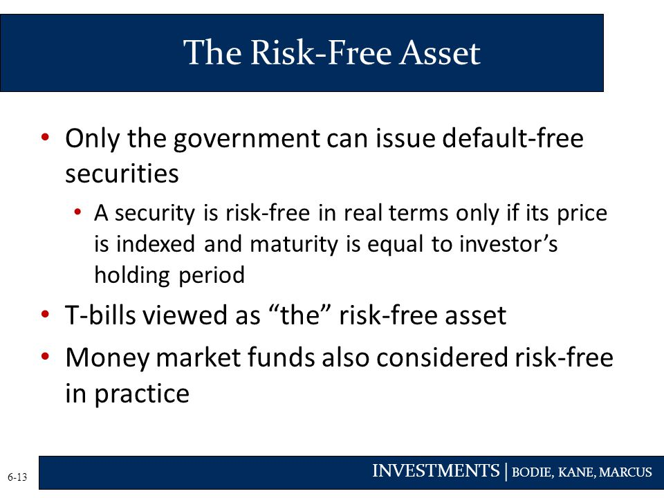The Risk-Free Asset Only the government can issue default-free securities.