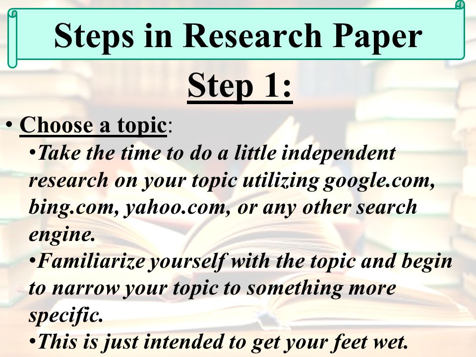steps to take in puting together a research paper