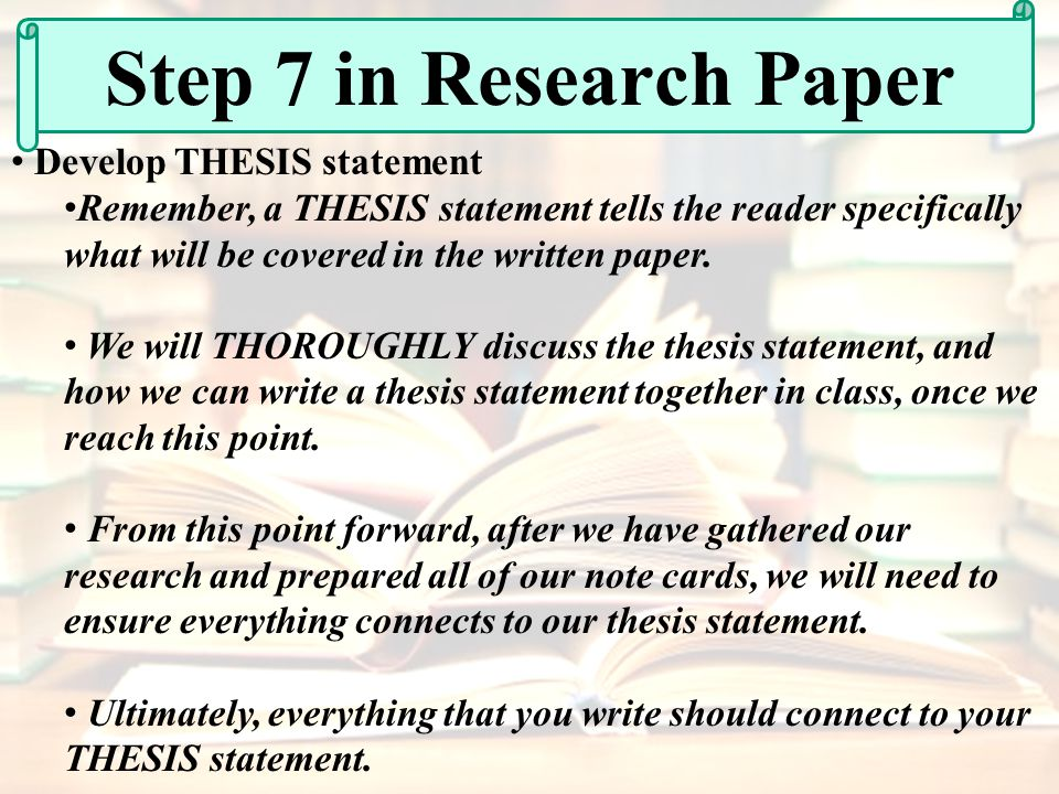 developing a thesis paper Developing a strong thesis statement view worksheet with a narrowed-down topic, you are ready to develop your thesis statement this statement conveys the topic of your research paper and.