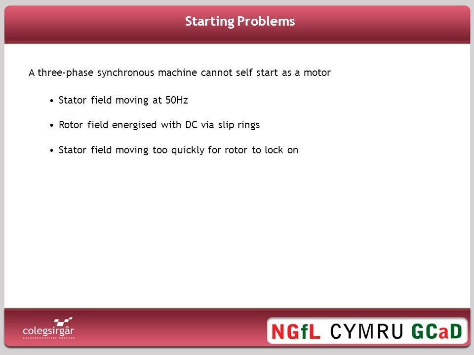 Starting Problems A three-phase synchronous machine cannot self start as a motor. Stator field moving at 50Hz.