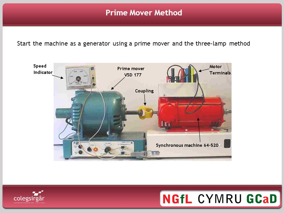 Prime Mover Method Start the machine as a generator using a prime mover and the three-lamp method