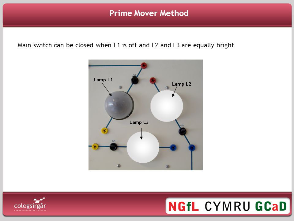 Prime Mover Method Main switch can be closed when L1 is off and L2 and L3 are equally bright