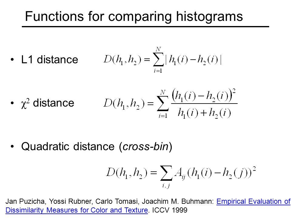 Functions for comparing histograms
