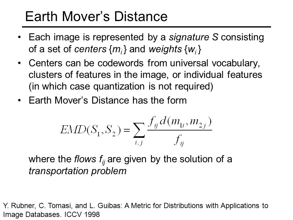 Earth Mover's Distance