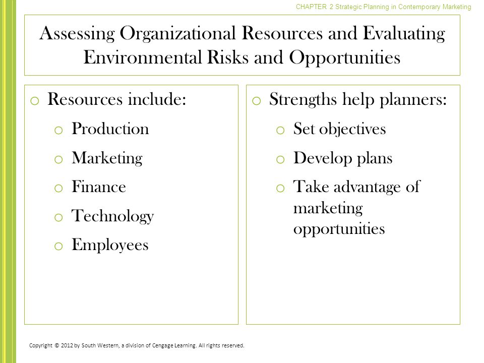 Assessing Organizational Resources and Evaluating Environmental Risks and Opportunities