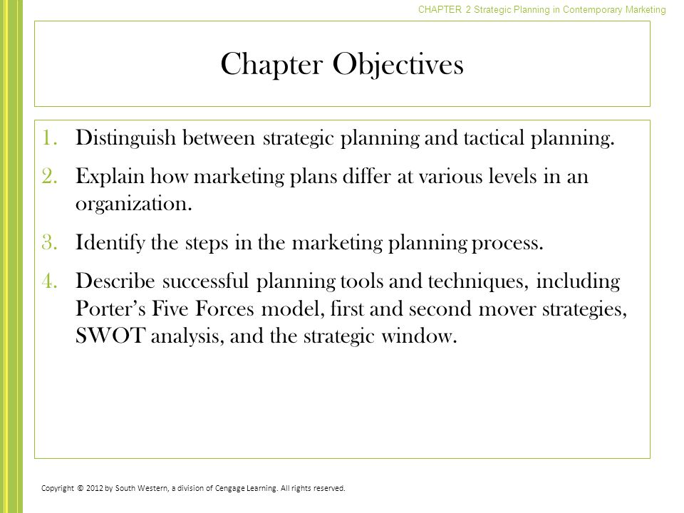 Chapter Objectives Distinguish between strategic planning and tactical planning.