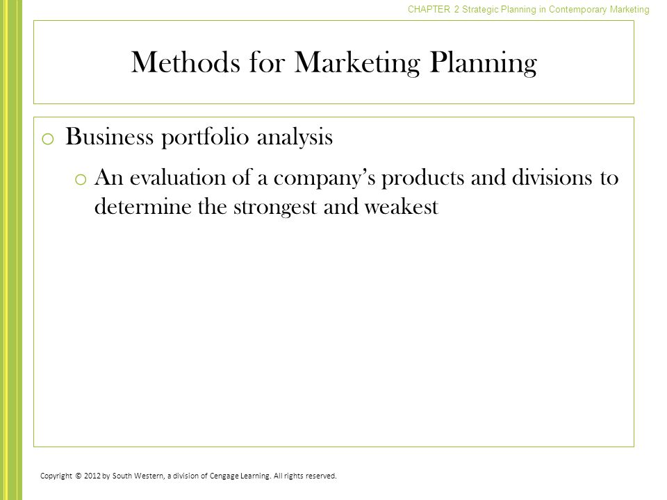 Methods for Marketing Planning
