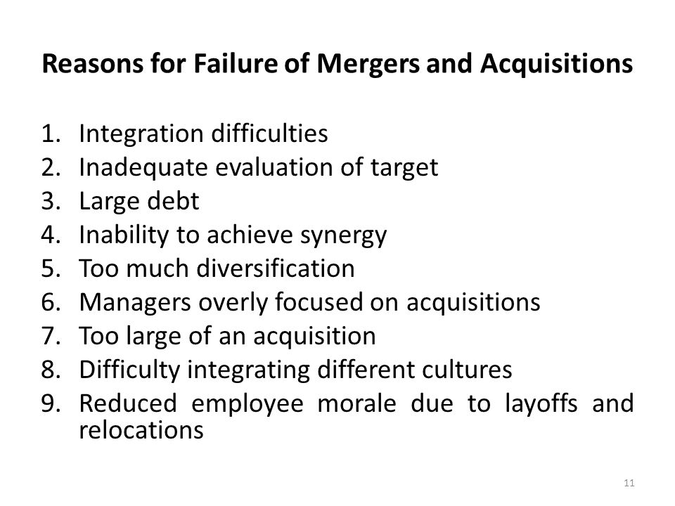 failures of international mergers and acquisitions Obstacles to cross-border mergers and acquisitions in the  possible internal market failures,  of potential obstacles to cross-border mergers,.