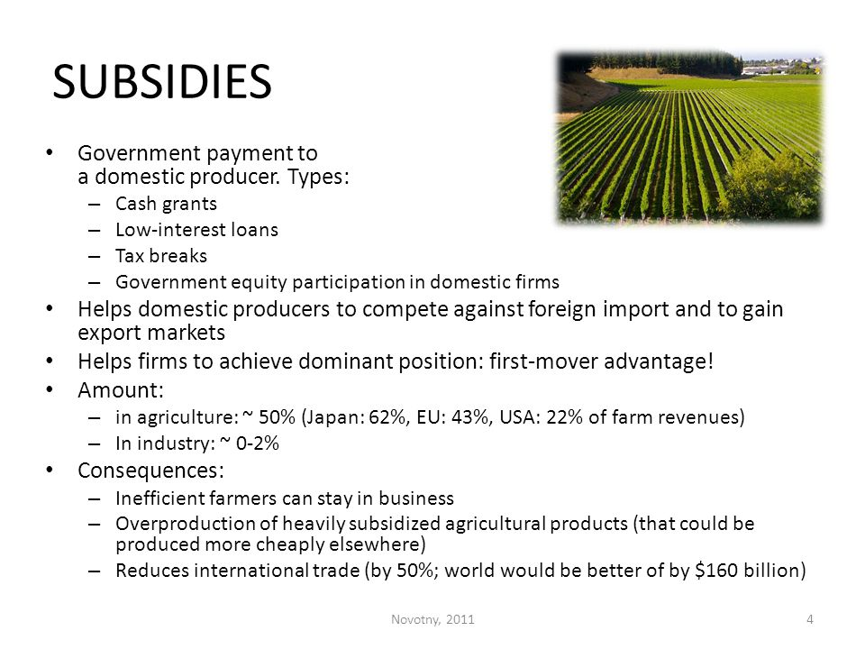 SUBSIDIES Government payment to a domestic producer. Types: