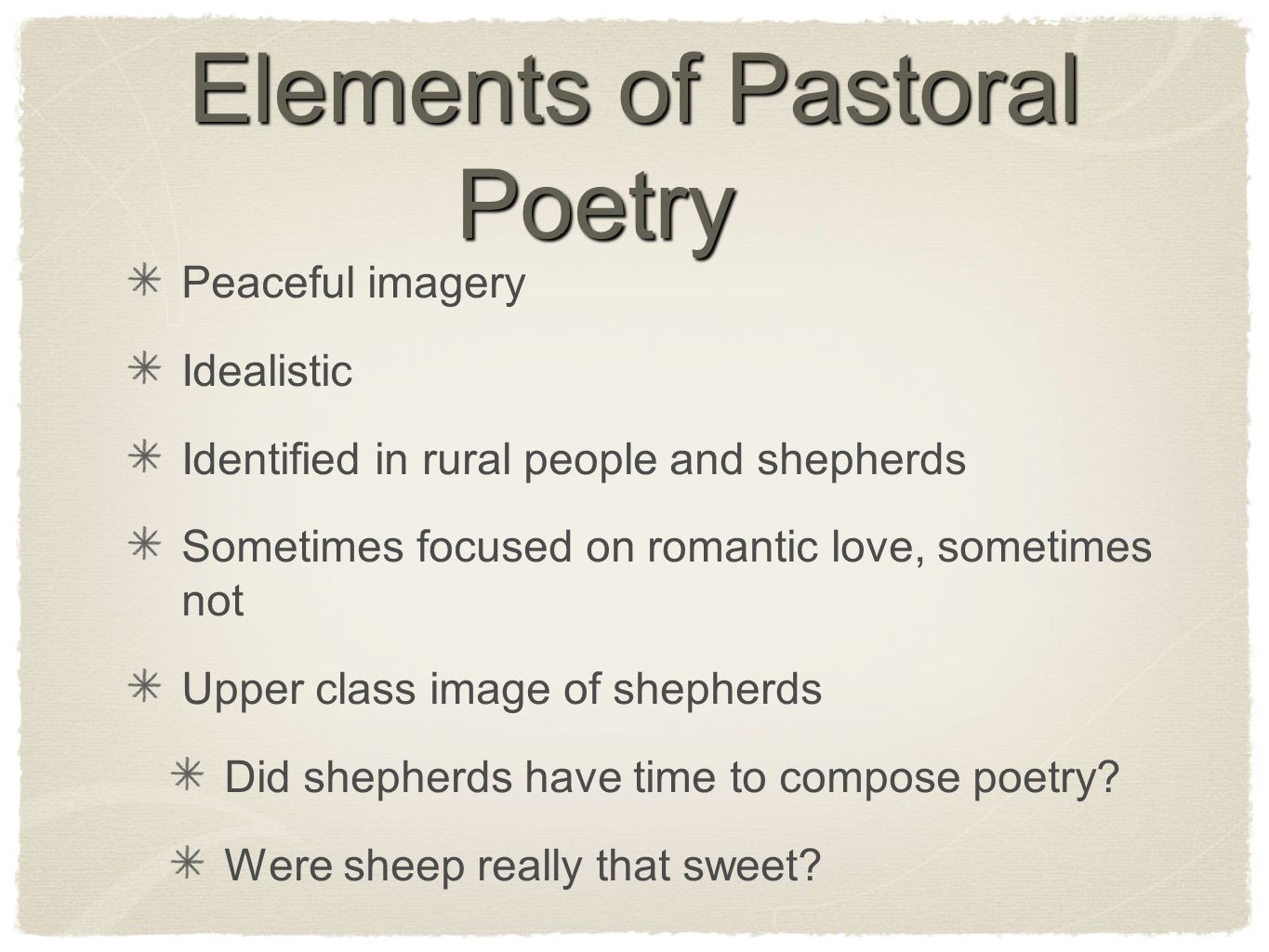 Elements of Pastoral Poetry