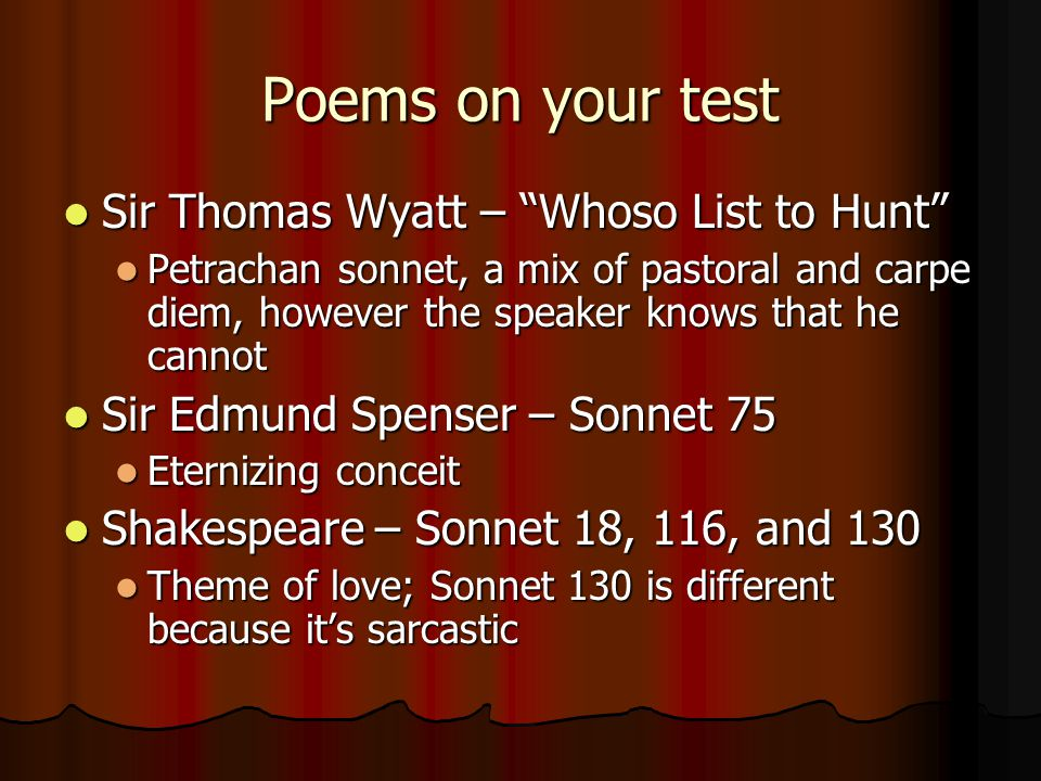 Poetry analysis whoso list to