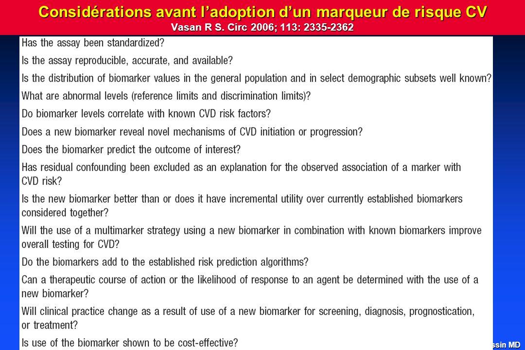 Considérations avant l'adoption d'un marqueur de risque CV Vasan R S