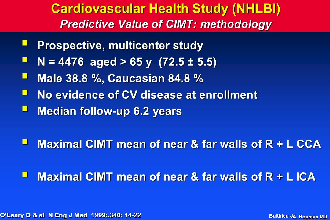 Cardiovascular Health Study (NHLBI) Predictive Value of CIMT: methodology