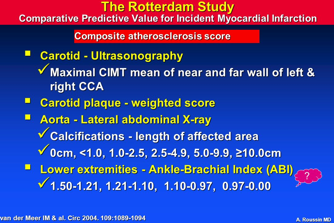 The Rotterdam Study Comparative Predictive Value for Incident Myocardial Infarction