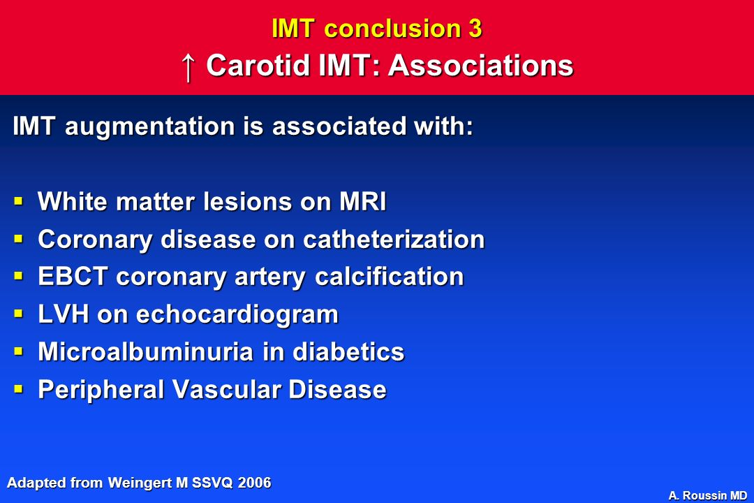 IMT conclusion 3 ↑ Carotid IMT: Associations