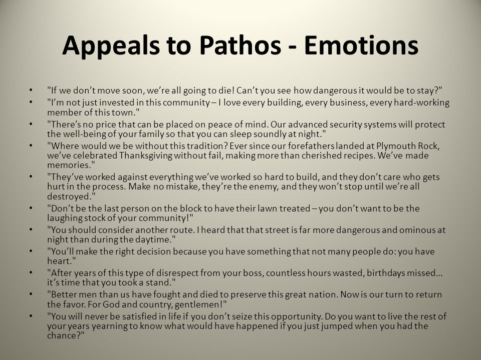 """appealing to the goddess of pathos Read """"pathos"""" to define and understand pathos and methods for appealing to it the following brief article discusses examples of these appeals in persuasive writing the following brief article discusses examples of these appeals in persuasive writing."""