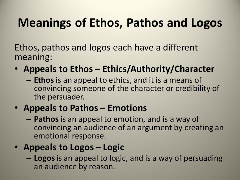 ethos logos pathos Logos is the shape of the argument facts, reasoning, and support for a main point (which is an opinion) is all logos this is why we show it in a concept map and not in a paragraph pathos is the use of emotionally charged language, and ethos is presenting the speaker/writer as an expert.