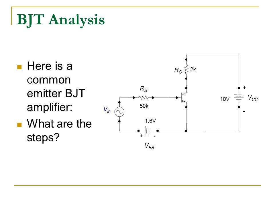 bjt common emitter amplifier Common emitter amplifier calculator (dc analysis) this calculator calculates the base current (ib), collector current (ic) and voltage between the collector and emitter (v ce) in the common emitter mode the base terminal of the transistor is the input, the collector is the output and the emitter is common to both the base and collector.