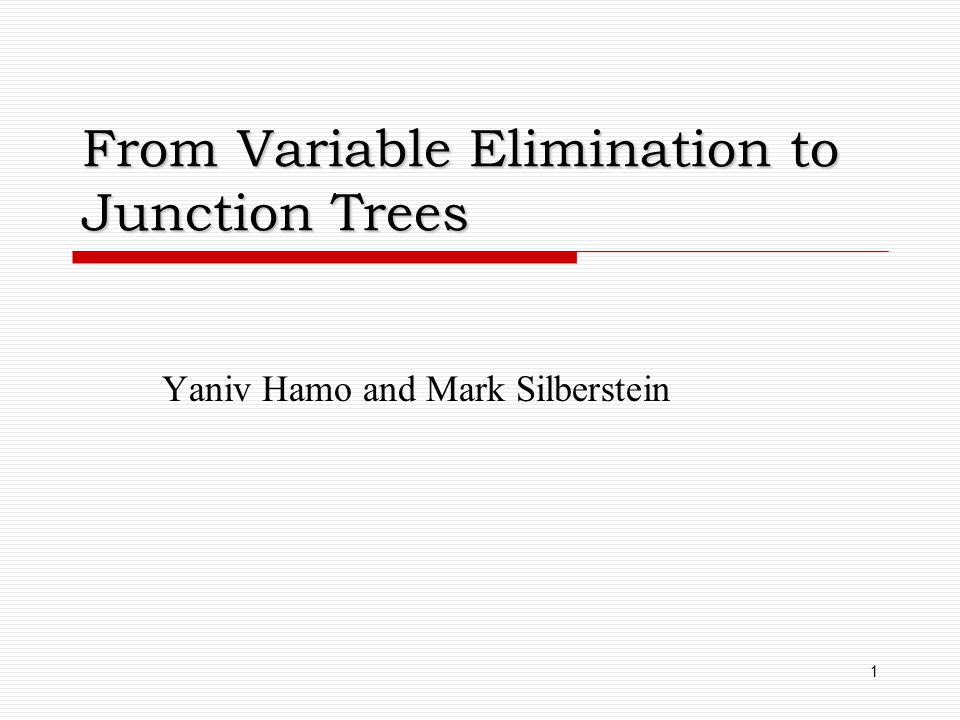 From Variable Elimination to Junction Trees