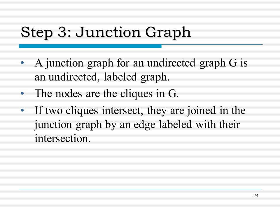 Step 3: Junction Graph A junction graph for an undirected graph G is an undirected, labeled graph. The nodes are the cliques in G.