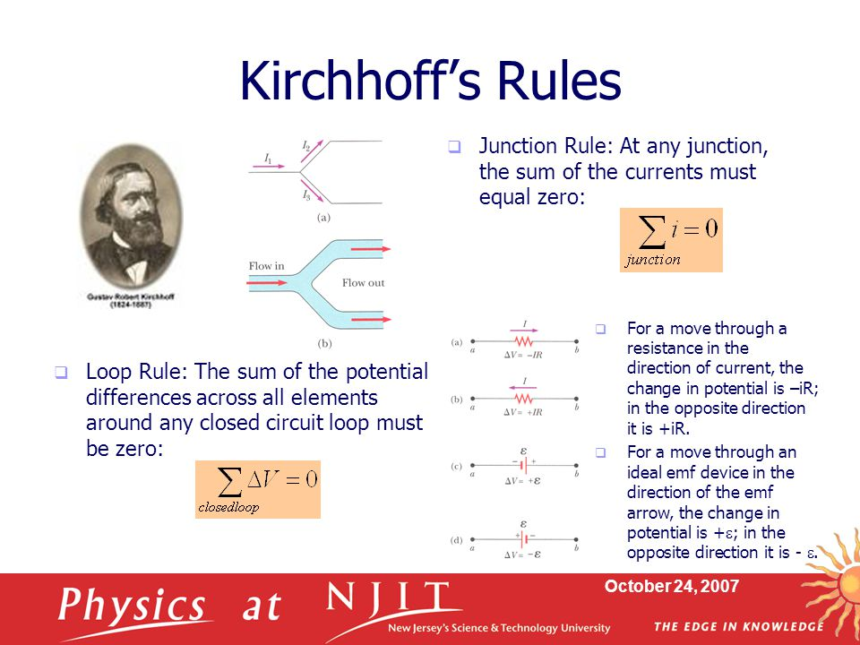Kirchhoff's Rules Junction Rule: At any junction, the sum of the currents must equal zero: