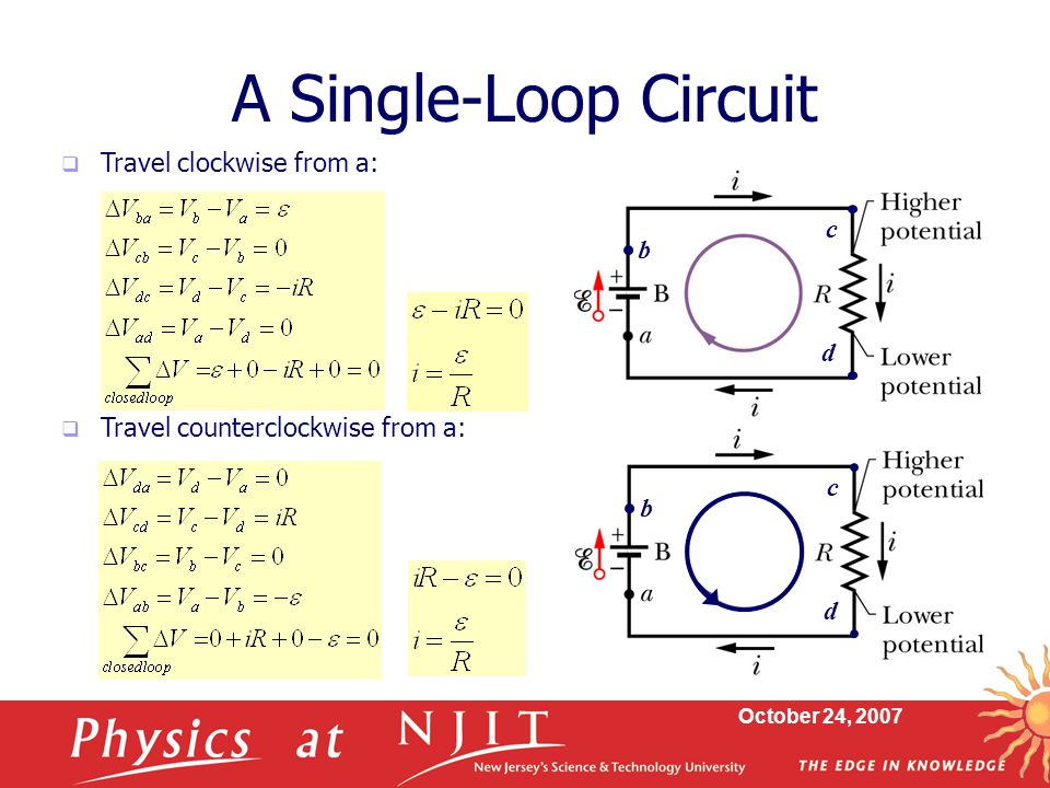 A Single-Loop Circuit Travel clockwise from a: c b