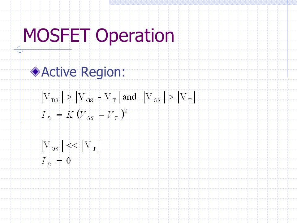 MOSFET Operation Active Region: