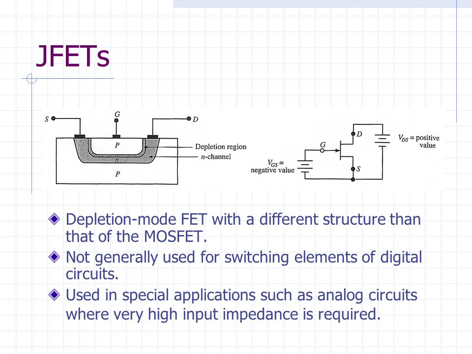 JFETs Depletion-mode FET with a different structure than that of the MOSFET. Not generally used for switching elements of digital circuits.