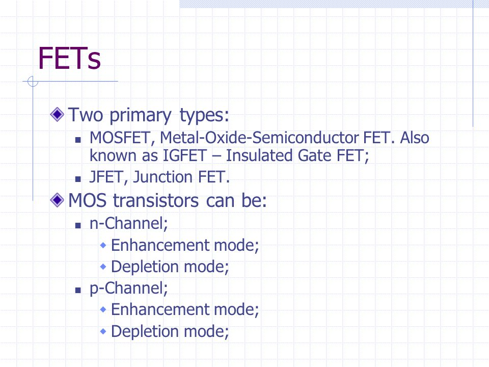 FETs Two primary types: MOS transistors can be: