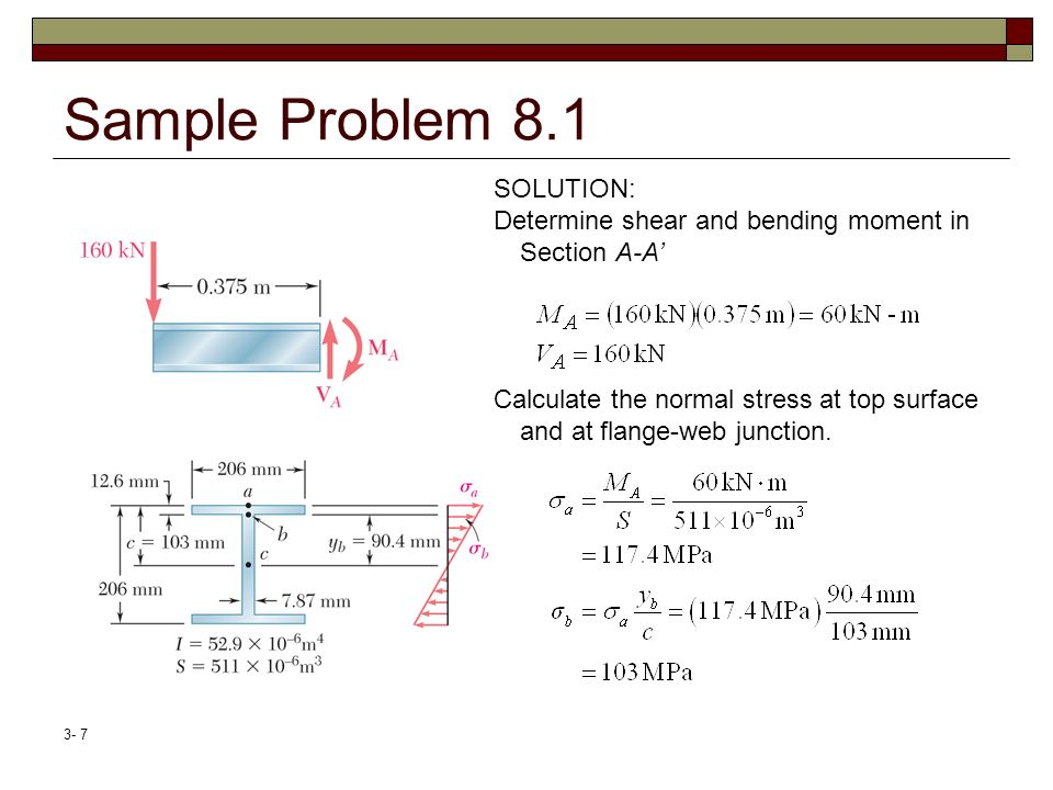Sample Problem 8.1 SOLUTION: