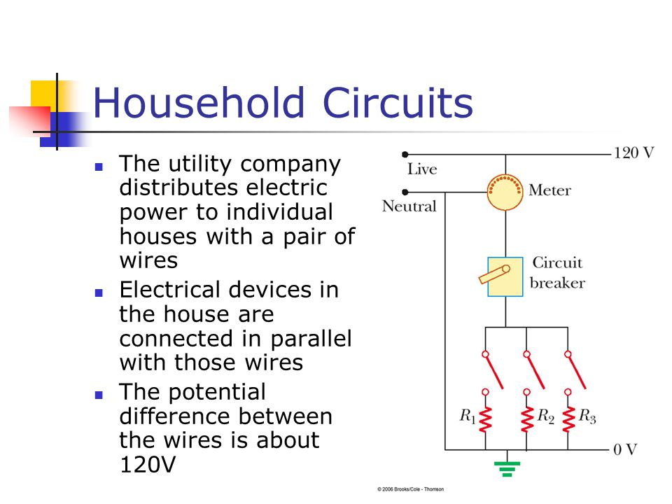 Household Circuits The utility company distributes electric power to individual houses with a pair of wires.