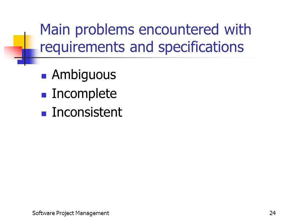 Problems encountered by project managers