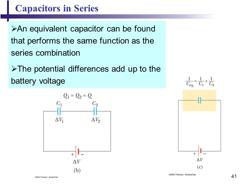 Capacitors in Series An equivalent capacitor can be found that performs the same function as the series combination.