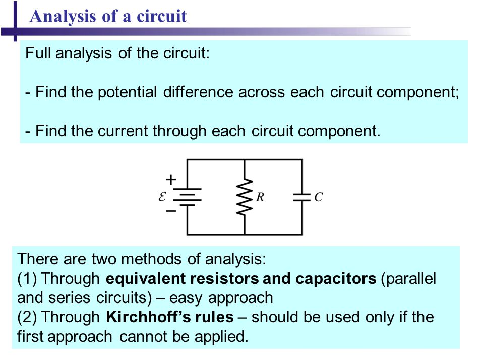 Analysis of a circuit Full analysis of the circuit: