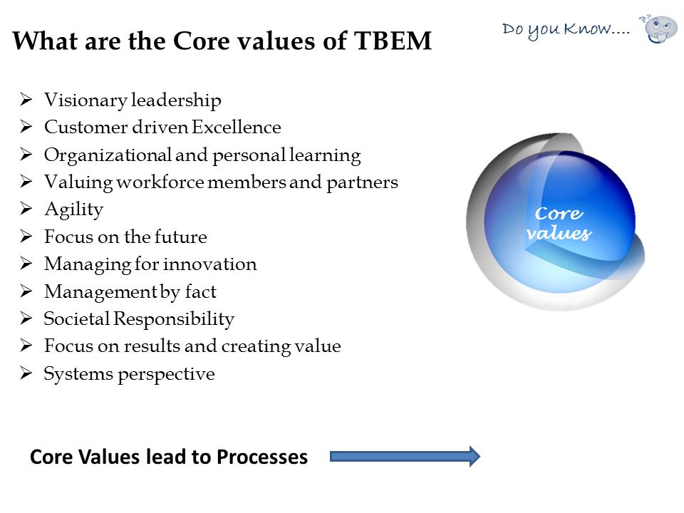 What are the Core values of TBEM