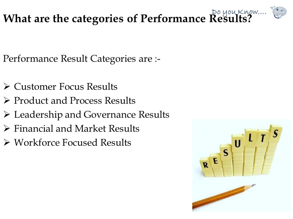 What are the categories of Performance Results
