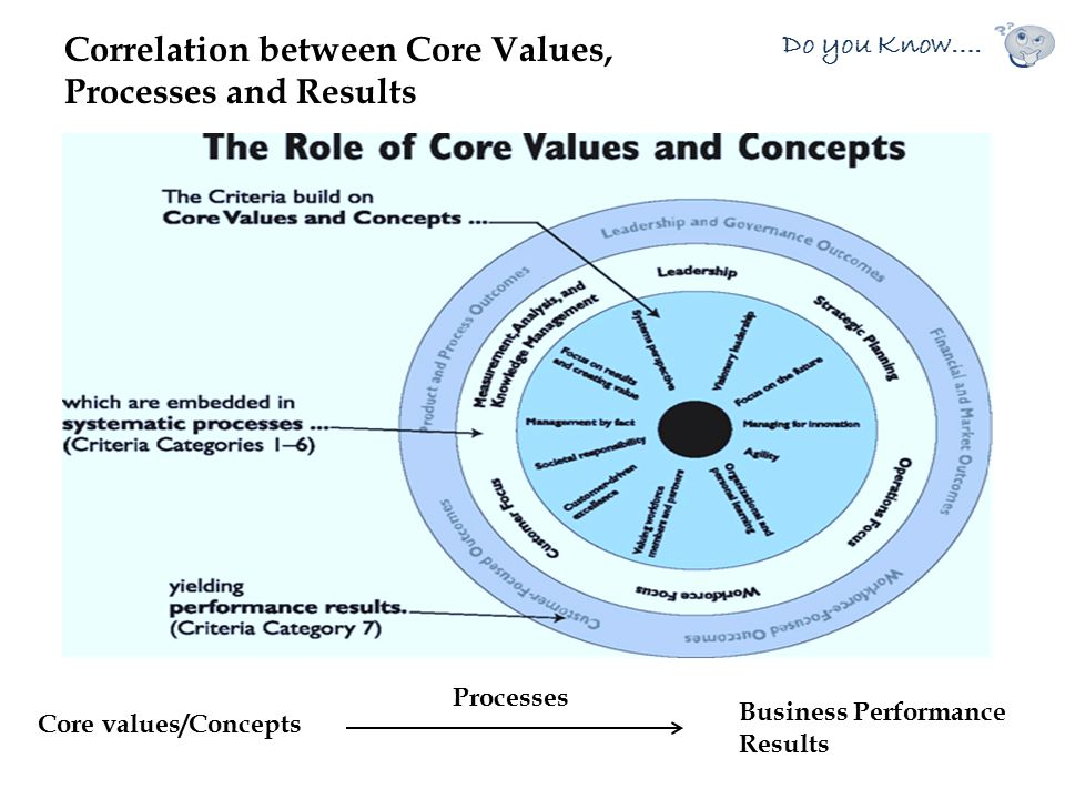 Correlation between Core Values, Processes and Results