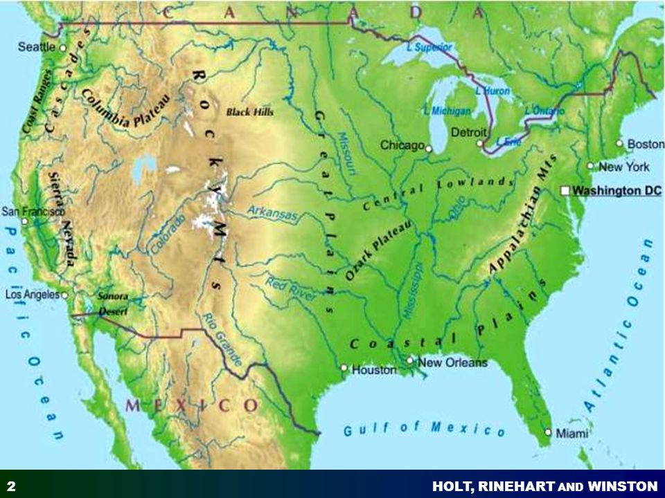 Natural Environments Of North America Ppt Video Online Download - North america map with physical features