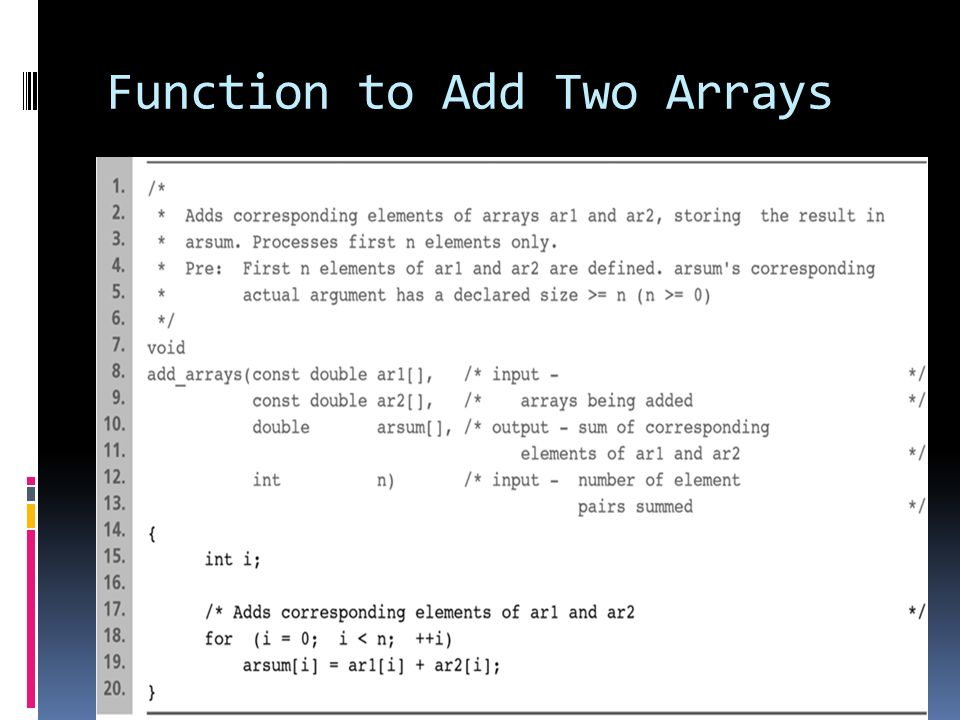 Function to Add Two Arrays