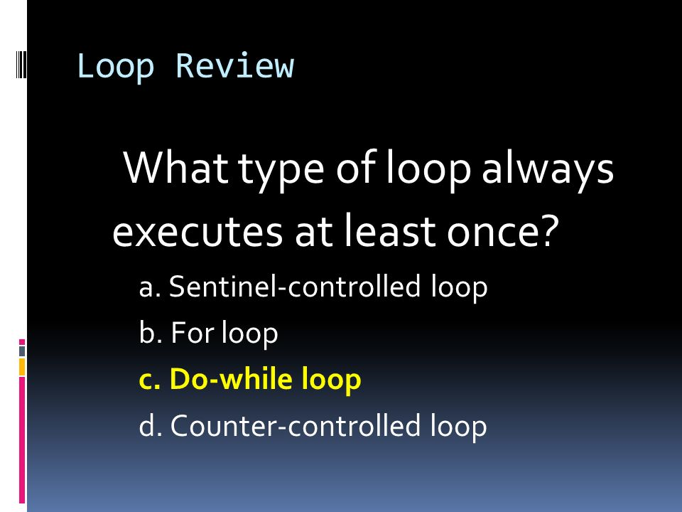 What type of loop always executes at least once