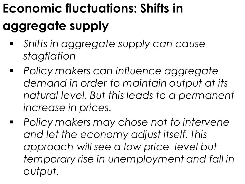 Economic fluctuations: Shifts in aggregate supply