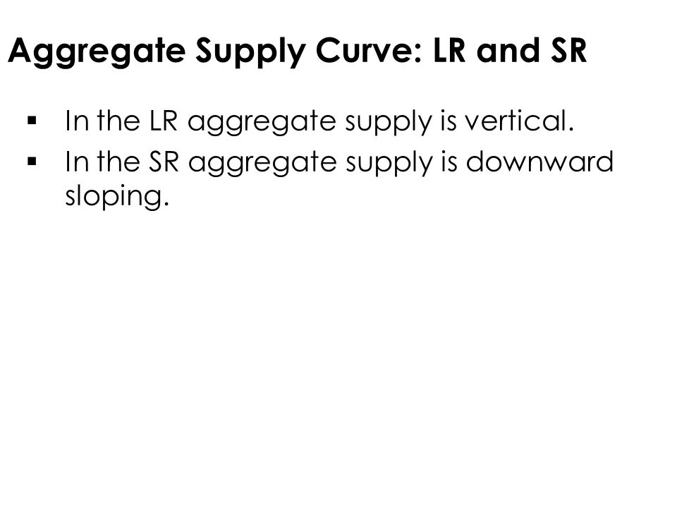Aggregate Supply Curve: LR and SR