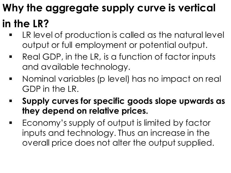 Why the aggregate supply curve is vertical in the LR