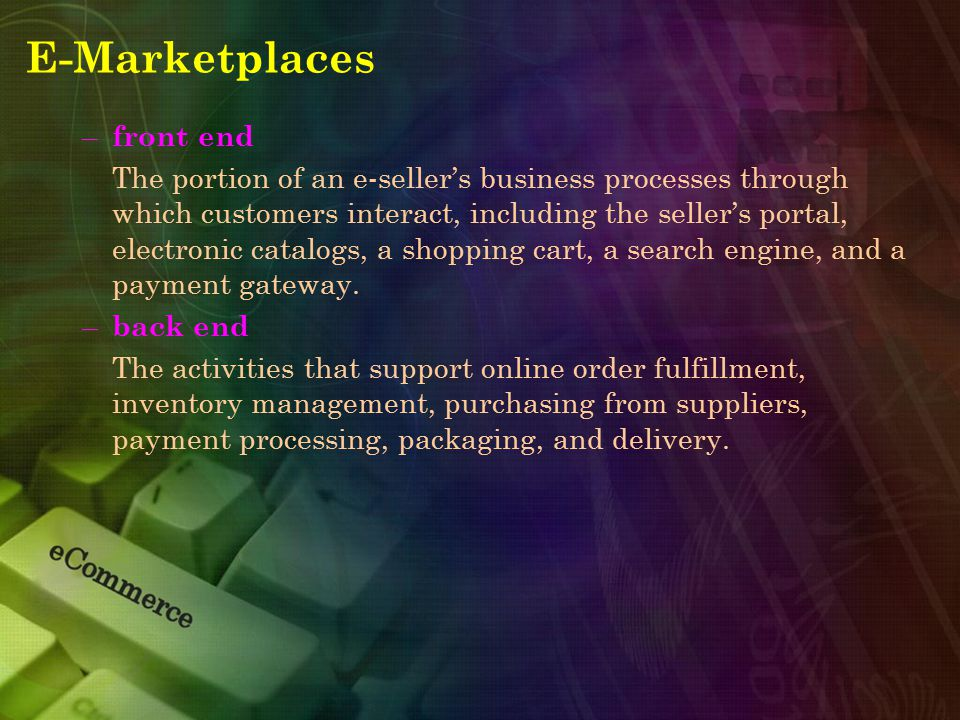 E-Marketplaces front end