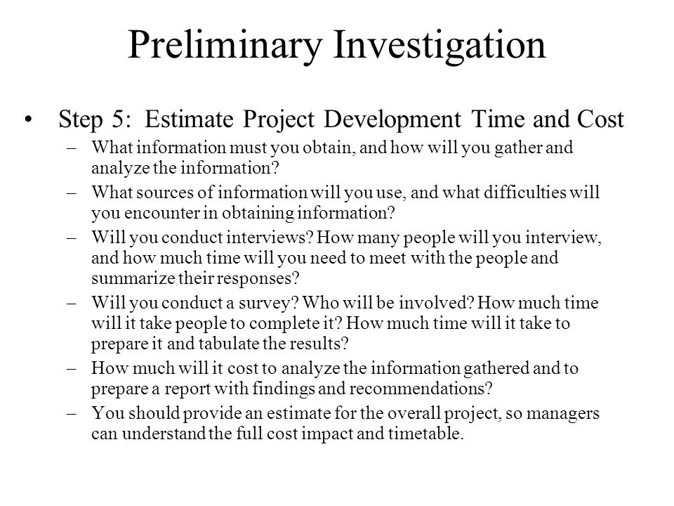 Preliminary investigation report
