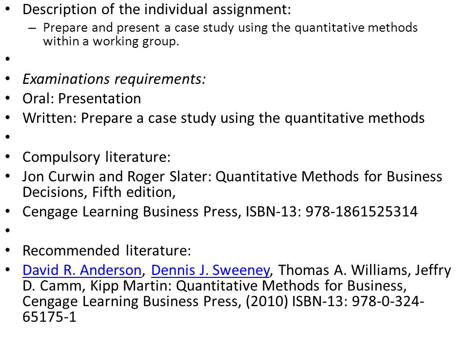 quantitative methods coursework Faculty in the quantitative methods (qm) program train students in  career  goals, and tailor their research, coursework, and teaching experiences  accordingly.