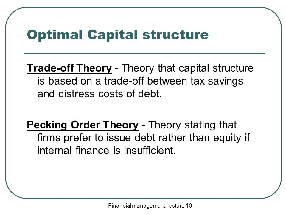 """optimal capital structure essay In my dissertation i investigate the question of capital structure stability from   view, but also because the """"optimal"""" capital structure should balance the risk of."""