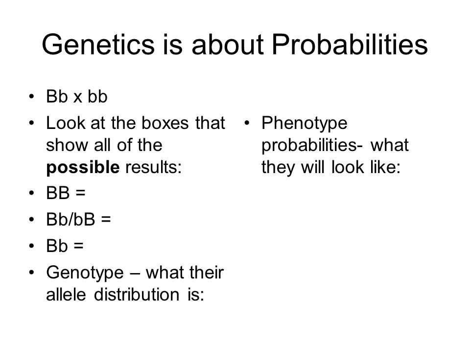 Genetics is about Probabilities