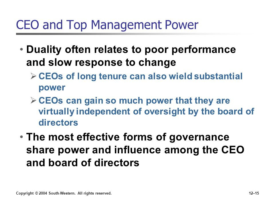 CEO and Top Management Power