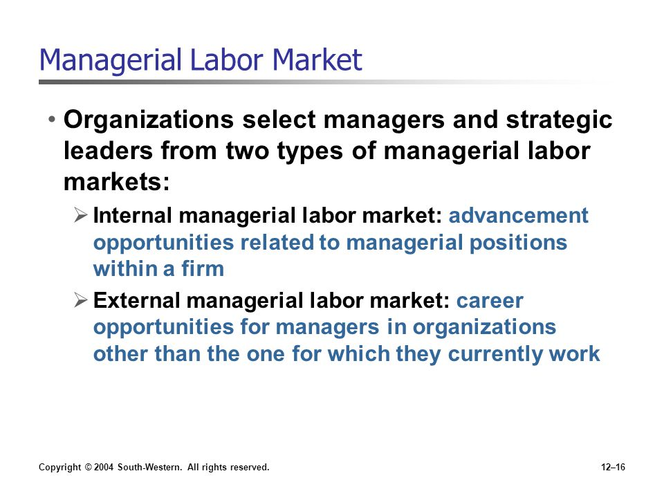 Managerial Labor Market
